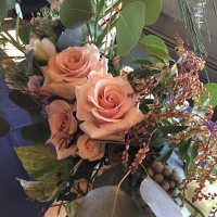 Bridal bouquet with Quick Sand Roses.