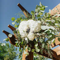Arch flowers with eucalyptus, thistle and hydrangea